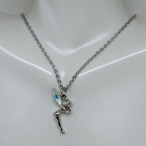 Jewelry - Tinkerbell Disney Silver Crystal Pendant Necklace